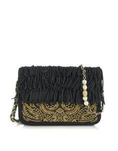 Ingenious Golden Studs and Fringe Suede Shoulder Bag