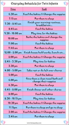 Everyday schedule or planner for twin infants