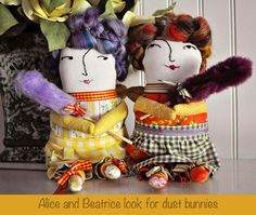 New softies: Alice and Beatrice, housekeeping fairies with magic dust wands.