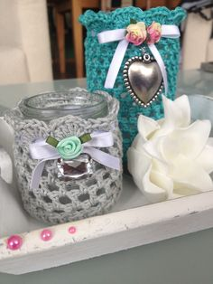 Diy Crochet And Knitting, Crochet Home, Love Crochet, Crochet Gifts, Fun Crafts To Do, Diy Crafts, Little Presents, Mason Jar Crafts, Crochet Projects
