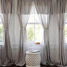 rideaux voilages en lin gris