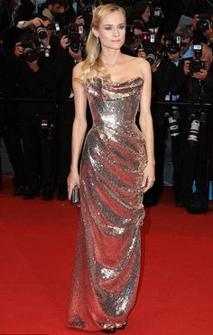 Cannes Style: Diane Kruger in custom Vivienne Westwood. Metallics are still a strong trend. More photos here: http://jugnistyle.com/style/cannes-2012-diane-kruger-style/# #cannes2012