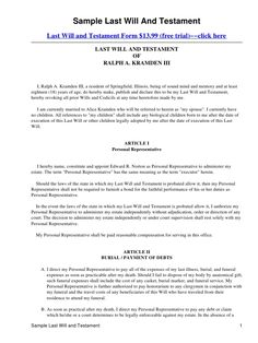 7 Best Last Will And Testament Template Form Louisiana