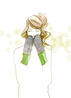 Mitten illustration in pencil crayon and watercolor.  Mitts by Jennifer Fukushima, fashion illustration by Jeesoo Kim