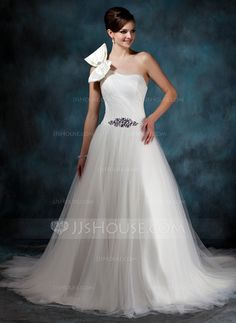 Wedding Dresses - $169.99 - Ball-Gown One-Shoulder Chapel Train Satin Tulle Wedding Dress With Ruffle Beading (002011944) http://jjshouse.com/Ball-Gown-One-Shoulder-Chapel-Train-Satin-Tulle-Wedding-Dress-With-Ruffle-Beading-002011944-g11944?ves=y0now5&ver=ln6dy