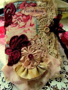 Shabby Chic Silk Rose Fabric Journal
