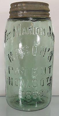 RARE !! c1890 LITE GREEN FRUIT JAR - THE MARION JAR MASON'S PATENT NOV 30,1858
