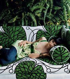 kelly green + black & white hunt...Marimekko Bottna on Anthropologie Ditte Sofa