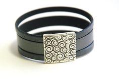 Wide Leather Bracelet Multi band Black leather by JillianDesigns4u, $37.00