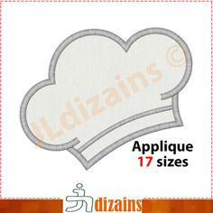 CHEF hat applique design. Machine embroidery design - INSTANT DOWNLOAD - 17 sizes by JLdizains on Etsy