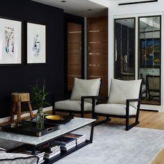Dark Living Rooms, Living Room Colors, Small Apartment Interior, Home Interior Design, Sofa Design, Furniture Design, London Living Room, Living Room Lighting, Modern Lounge