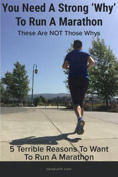 Having a strong 'why' is super important marathon training, because of the sheer volume of time and energy required to see it through. Everyone's why is different and for the most part, I don't think there are 'right' or 'wrong' whys. If it works for you, work with it. That said, there are a few whys that aren't very good and aren't enough to get you through training. #running #runner #marathon #marathontraining