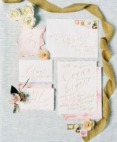 Pink watercolor + calligraphy invitation