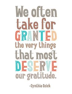 We often take for granted the very things that most deserve our gratitude. - Cynthia Ozick