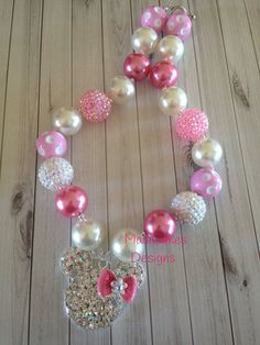 Princess Minnie Pink and Pearl Chunky Bubblegum Necklace on Etsy, $18.00