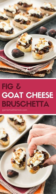 Fancy up your appetizer spread with sweet dried figs & creamy goat cheese. These easy but elegant Fig & Goat Cheese Bruschetta are sure to impress your guests. Appetizers For Party, Appetizer Recipes, Fig Appetizer, Christmas Appetizers, Healthy Appetizers, Goat Cheese Bruschetta Recipe, Tapas, Bruchetta, Snacks