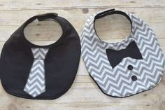 Gray Chevron Two Piece Bib Set One Tie Bib and by sallyscrafts1 | Baby Bibs | Pinterest | Gray Chevron, Two Pieces and Bibs
