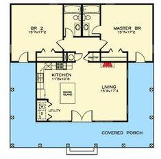 1189 SQ ft Graceful Craftsman Cottage - floor plan - Main Level Get rid of Bed shift MB over 2 Bedroom House Plans, Cottage Floor Plans, Small House Floor Plans, Cabin Floor Plans, Cottage House Plans, New House Plans, Cottage Bedrooms, The Plan, How To Plan