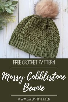 Mossy Cobblestone Beanie   A Free Crochet Hat Pattern from Cute As A Button Crochet & Craft, using Cobblestone yarn #caabcrochet #cobblestoneyarn #freecrochetpattern #crochetbeanie Quick Crochet, Tunisian Crochet, Free Crochet, Knit Crochet, Knitting Designs, Crochet Designs, Crochet Crafts, Crochet Projects, Hat Patterns
