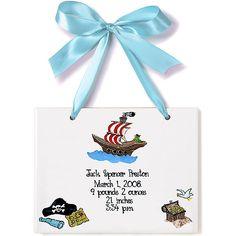 Baby Pirate Birth Announcement Plaque from PoshTots
