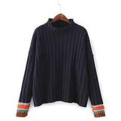 Drop Shoulder Seam Ribbed Trim Sweater ($4.99) ❤ liked on Polyvore featuring tops and sweaters