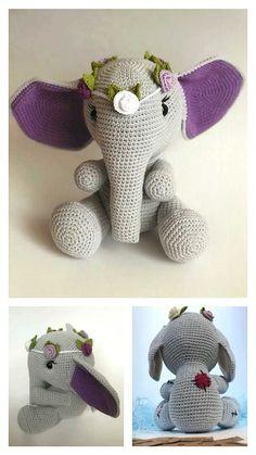 Free Crochet Elephant Pattern & many amigurumi elephant idea... Crochet Elephant Pattern, Crochet Motif, Free Crochet, Crochet Patterns, Step By Step Crochet, Learn To Crochet, Crochet Animals, Free Pattern, Knitting