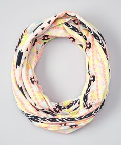 Erge Coral & Yellow Tribal Infinity Scarf