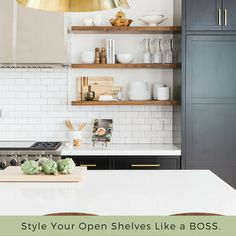 Kitchen inspiration for your Tuesday! Check out these amazing kitchens using open shelving like a BOSS. #kitchen #shelves