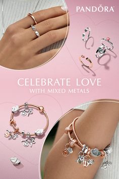 Mix and match metals to create a one-of-a-kind look that celebrates the love in your life with the NEW Valentine's Day collection from PANDORA.