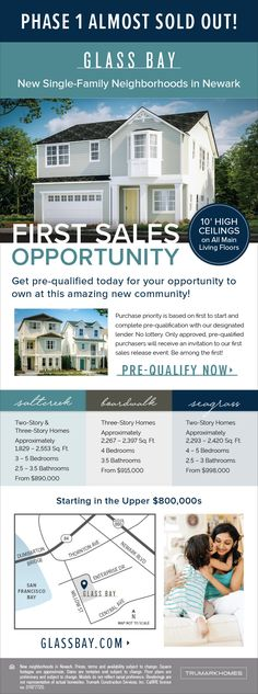 "New Homes for Sale in Newark, California  Glass Bay Phase 1 Almost Sold Out – Pre-Qualify Today  10"" High Ceilings on All Main Living Floors  