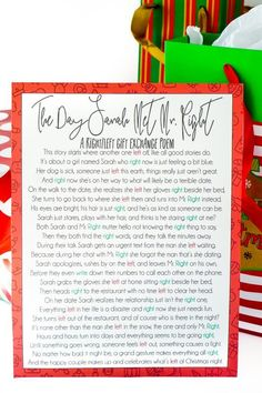 This free printable right left Christmas poem is perfect for large groups whether you're doing a gift exchange for adults, for kids, or even an entire family! It's unique, funny, and perfect for a holiday no one will forget!