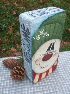 Welcome Flakes Snowman Brick Pattern Oil Creek Originals