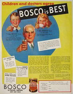 """Children and doctors agree... Bosco is Best"" - 1933 Bosco Chocolate Malt Flavor Ad"