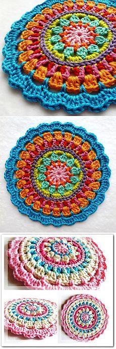 мандалы крючком Loom Crochet, Diy Crafts Crochet, Crochet Mandala Pattern, Crochet Squares, Crochet Gifts, Cute Crochet, Crochet Doilies, Crochet Flowers, Easy Crochet
