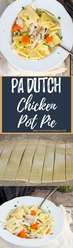 Pennsylvania Dutch Chicken Pot Pie - Homemade Amish style pot pie with FRESH rolled dough. This recipe is an old passed down tradition. Amish Recipes, Dutch Recipes, Soup Recipes, Chicken Recipes, Cooking Recipes, Yummy Recipes, Chicken Meals, What's Cooking, Cooking