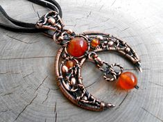 Carnelian copper Moon pendant wire wrapped Author's sketch