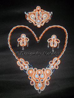 OOAK Soutache Jewelry Set Of Earrings  Bracelet Necklace Orange Blue White via Etsy
