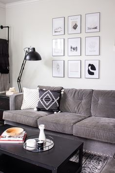 Mid Century Modern Gallery Wall with neutral abstract prints. Great monochromatic living room. #gallerywall #blackandwhitedecor #walldecor Monochromatic Living Room, Living Room Modern, Modern Gallery Wall, Types Of Craft, Wall Decor, Wall Art, Home Decor Items, Ac Unit Cover, Diy Ac