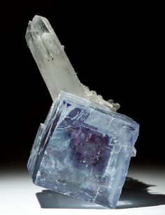 Fluorite with Quartz Locality: China  Size: Fluorite is 0.9 inches wide. / Mineral Friends <3