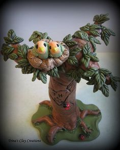Lovebirds in aTree ~ Trina's Clay Creations ~ via Flickr.
