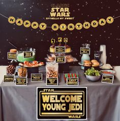 Star Wars birthday party ideas and dessert table.