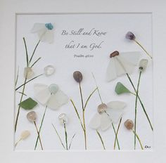Original Sea Glass Art Bible Quote Art Be Still and Know