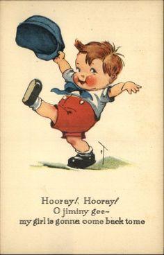 "A/S TWELVETREES Little Boy Kicking Up Foot ""Jiminy Gee!"" c1910 Postcard"