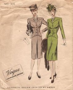 194Os-WW2-Vintage-VOGUE-Sewing-Pattern-B32-SUIT-JACKET-SKIRT-DICKEY-1121-261318842680