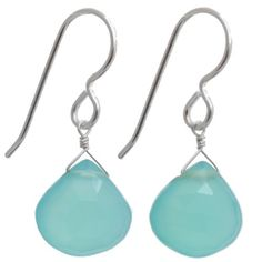 Aqua Chalcedony Briolette Dangle Sterling Silver Handmade Earrings ** More info could be found at the image url.