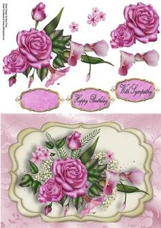 """Beautiful Pink Rose Spray on Craftsuprint designed by Amy Perry - Beautiful Pink Rose Spray in cream and gold plaque on gorgeous pink floral backing paper also has matching choice of tag """"With Sympathy"""" and """"Happy Birthday"""" also a blank tag for your own choice of sentiment - Now available for download!"""