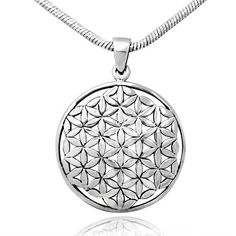 7f4fd750e 925 Sterling Silver Flower of Life, Seed of Life Round Pendant, Rhodium  Plated Chain