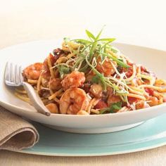 Shrimp and Chickpea Pasta Recipe | MyRecipes.com