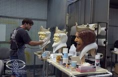 Character Creator Rob Ramsdell airbrushes the iconic fast food character at Stan Winston Studio.