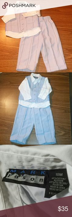 Mark Jason boy's 3 piece pantsuit Mark Jason boy's 3 piece pantsuit never worn blue with 2 front pockets on vest red and blue pinstripes pants have cuffs at bottom white button down shirt Mark Jason Matching Sets